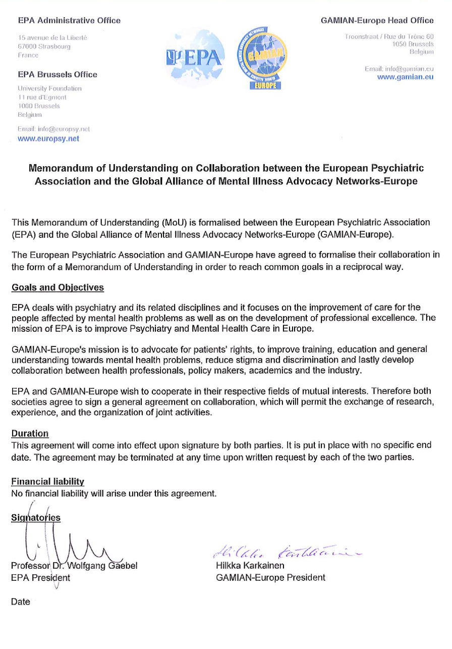Signature Of The Memorandum Of Understanding Gamian
